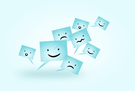 moods: Illustration of light blue communicate speech bubbles with different moods Stock Photo