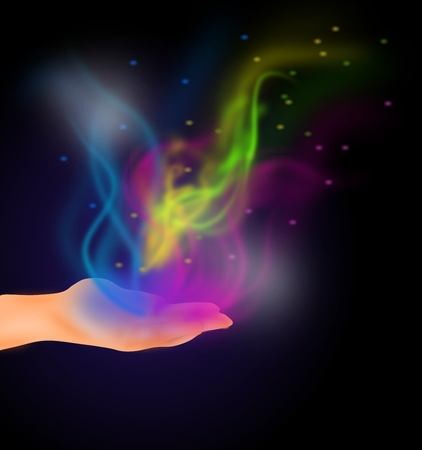 open flame: Illustration of open loof with colorful smoke Stock Photo
