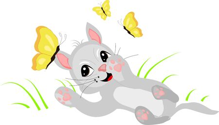 lay down: Vector illustration of small cute kitten as catching butterflies