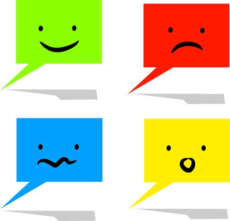 moods: Vector of colorful communicate speech bubbles with different moods Illustration