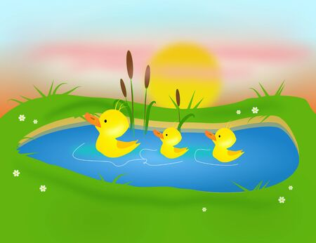 mere: Illustration of three yellow ducklings on pond