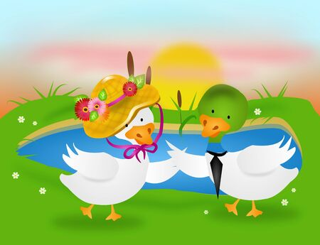 mere: Illustration of dancing ducks by pond in sunset