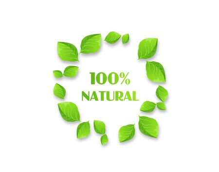 Illustration of circle set of green leaves with text 100% natural