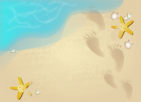 foots: Illustration of sandy beach with foots to the sea Stock Photo
