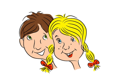Illustration of two children heads - boy and girl illustration