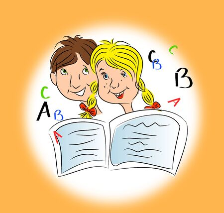 basic letters: Illustration of two children with books with letters