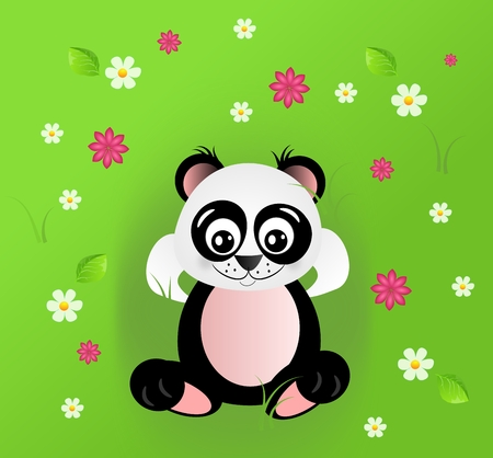 lay down: Illustration of cute panda in grass with flowers