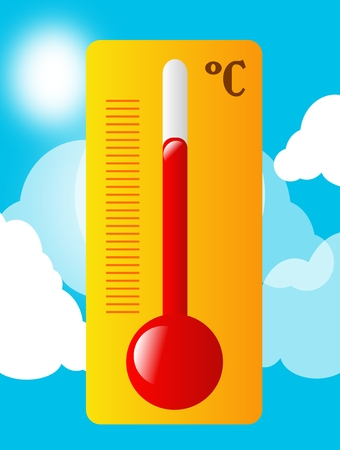 metre: Illustration of summer thermometer with blue sky in background