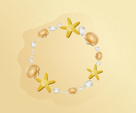 seaonal: Illustration of sheashells circle on sandy beach background