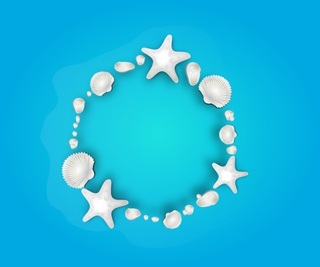 seaonal: Illustration of sheashells circle on blue background Stock Photo