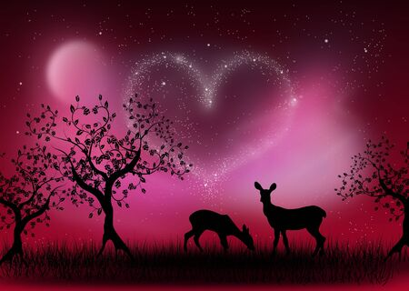 deer in heart: Illustration of sunset landscape with deer and heart of stars
