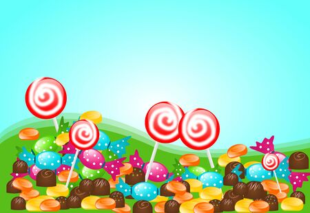 goody: Illustration of different type of candies on land