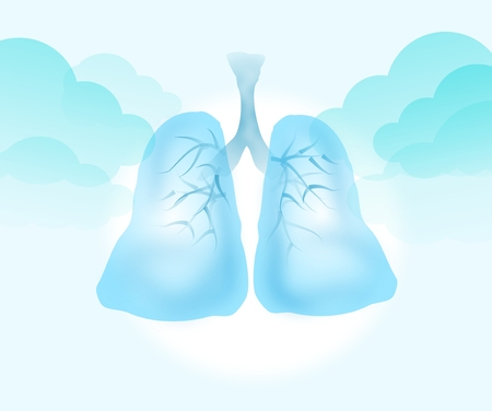 breezy: Illustration of light blue clear lungs with clouds on background Stock Photo