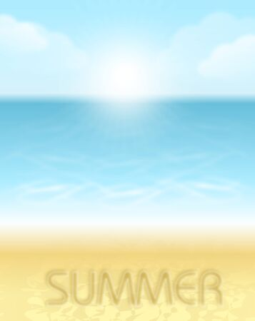 sandy: Vertical illustration of seaside and sandy beach with text Summer