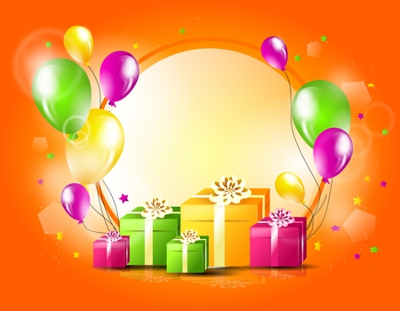 Illustration of happy birthday greeting card with gift and balloons Zdjęcie Seryjne
