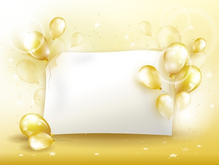 dressy: Illustration of golden background for celebration with balloons