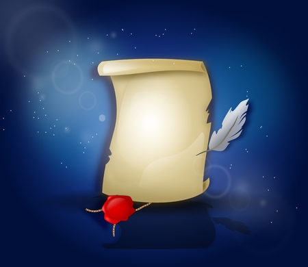 Illustration of blank letter from middle ages on blue background Фото со стока