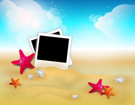 sandy: Illustration of summer background with sandy beach and fishstars and photos