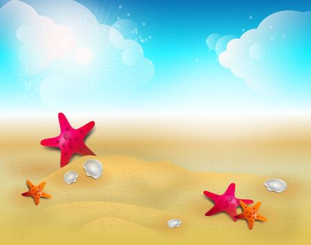 sandy: Illustration of summer background with sandy beach and fishstars