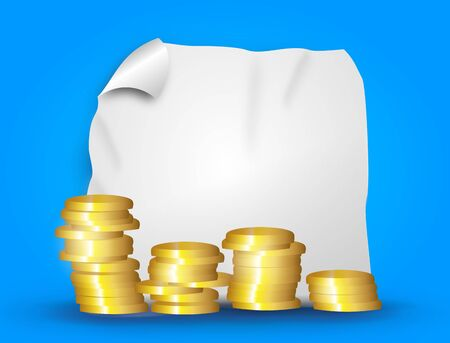 loot: Illustration background with four columns of golden coins and rising curve