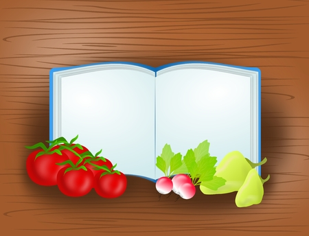 healty food: Illustration of blank open book with different vegetable on wooden background