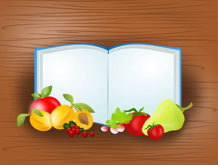 healty food: Illustration of blank open book with different fruit and vegetable on wooden background