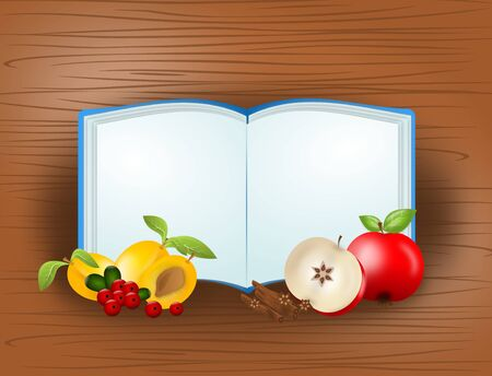 healty food: Illustration of blank open book with different fruit on wooden background