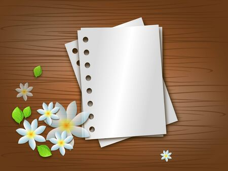 lay down: Illustration of wooden background with some blank paper sheets and white blossoms