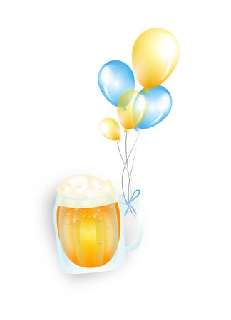 glee: Illustration of beer in glass goblet with celebration balloons Stock Photo