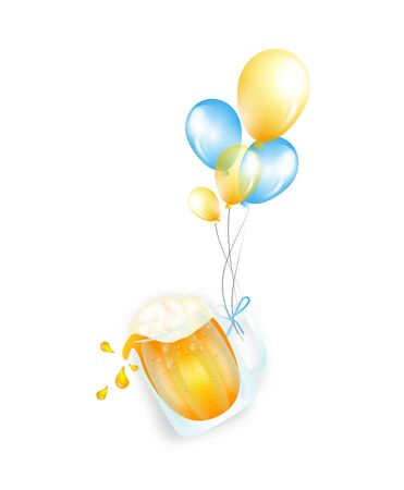 cheerfulness: Illustration of beer in glass goblet with celebration balloons Stock Photo