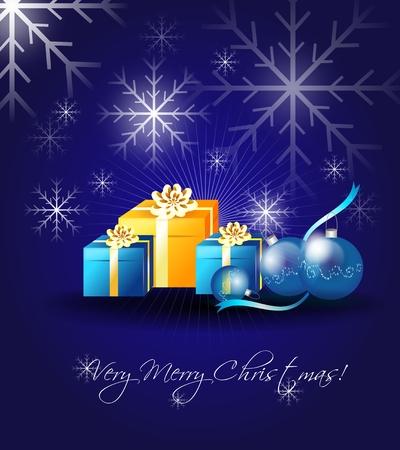 Illustration of christmas greeting card with gifts and christmas bulbs Stock Photo