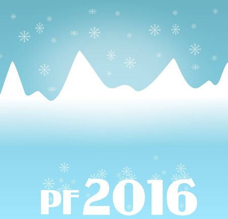 pf: Illustration of winter mountain with falling snowflake and greeting PF 2016