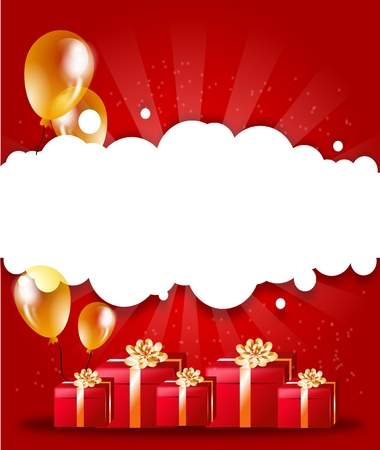ballons: Illustration of party background with gifts and ballons