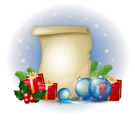 holly day: Christmas background illustration of gift, christmas bulb and holly Stock Photo