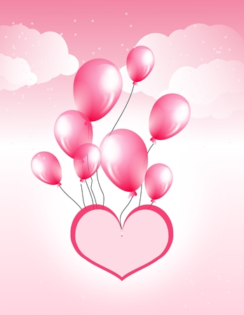 pink balloons: Illustration of pink heart flying with pink balloons
