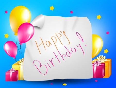 cheerfulness: Illustration of happy birthday greeting card with balloons and gifts