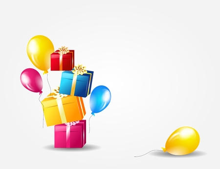gleeful: White background with gifts and balloon decorations