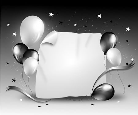 white party: Party background with balloons and ribbon in black white colors