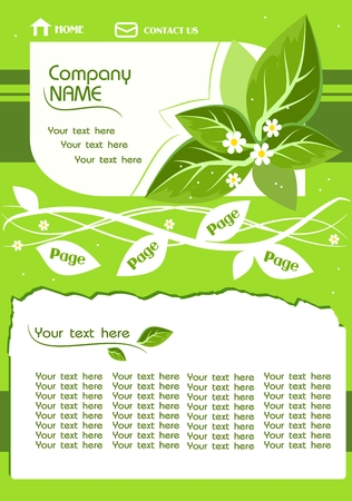 Vector illustration of light green web template with leaves Çizim
