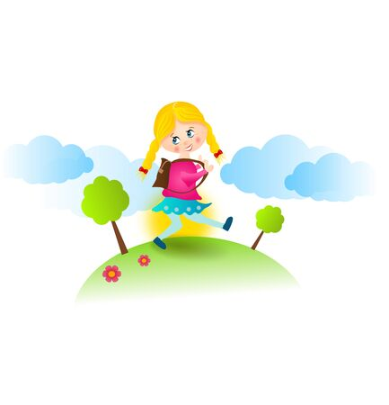 end of the days: Happy illustration of young girl walking on hill