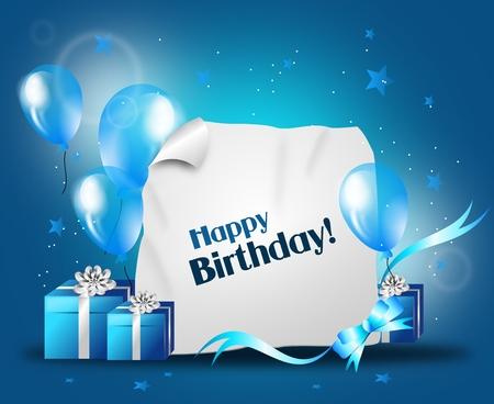 erwachsene: Alles Gute zum Geburtstag Hintergrund Illustration mit Luftballons und Geschenke Lizenzfreie Bilder