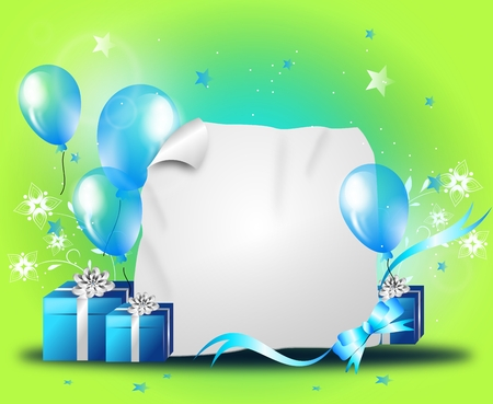 Happy party background illustration with balloons and gifts Zdjęcie Seryjne