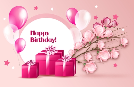 birthday adult: Elegant light pink greeting card for birthday to woman Stock Photo