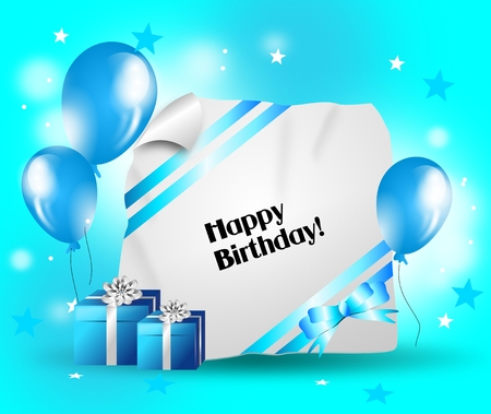 adult birthday party: Light blue designed birthday greeting card for congratulation