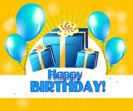 adult birthday party: Happy birthday greeting card with gifts and balloons