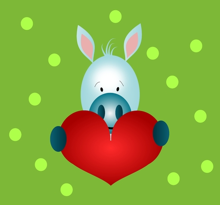 shape cub: Happy illustration of small donkey with big red heart Stock Photo
