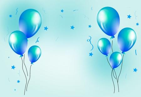 Celebration Hintergrund mit blauen Luftballons Dekoration Illustration Standard-Bild