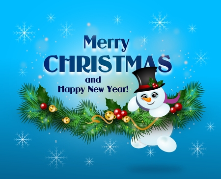 holly day: Beautiful merry christmas greeting card illustration with needles decoration Stock Photo