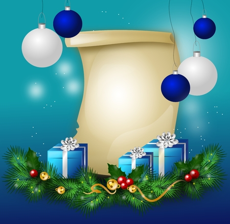 Christmas background with blank wish list and christmas decorations