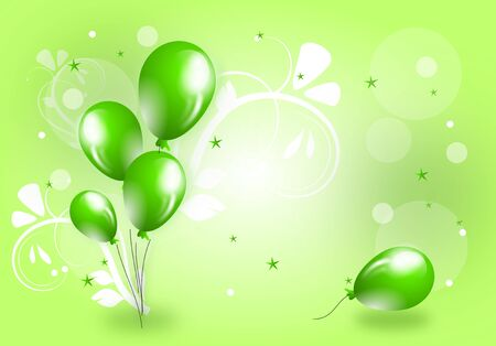 green balloons: Light green background with green balloons and lights